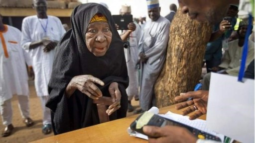 elderly person voting
